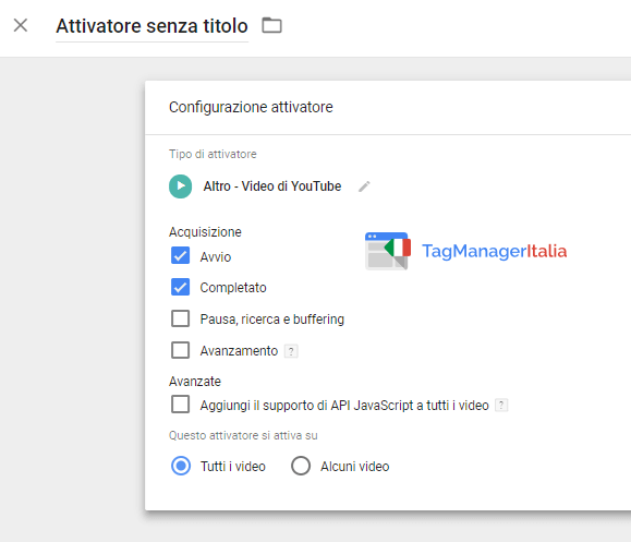attivatore video youtube google tag manager