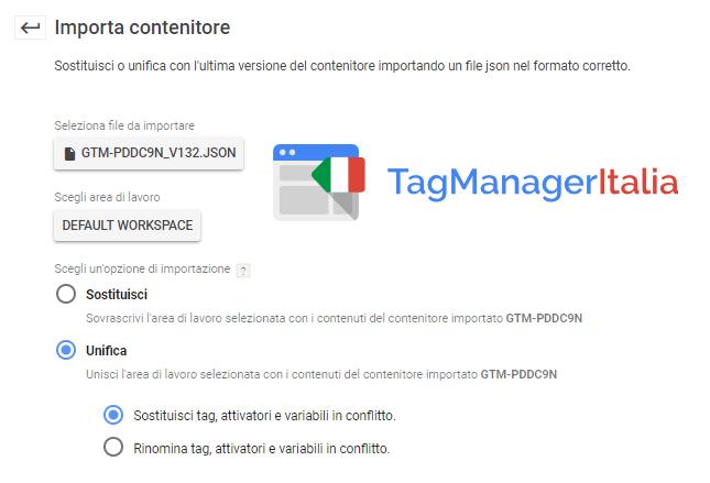 importa contenitore google tag manager