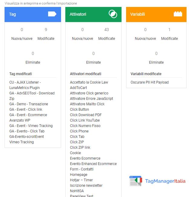 importazione contenitore google tag manager