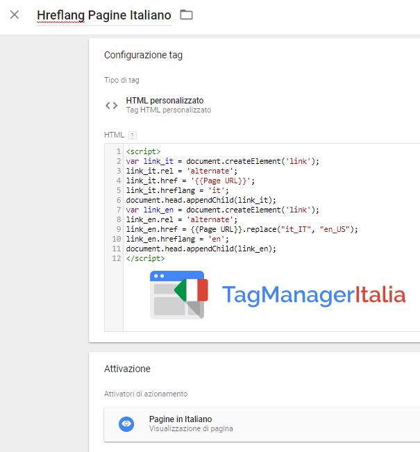tag aggiungere hreflang italiano google tag manager