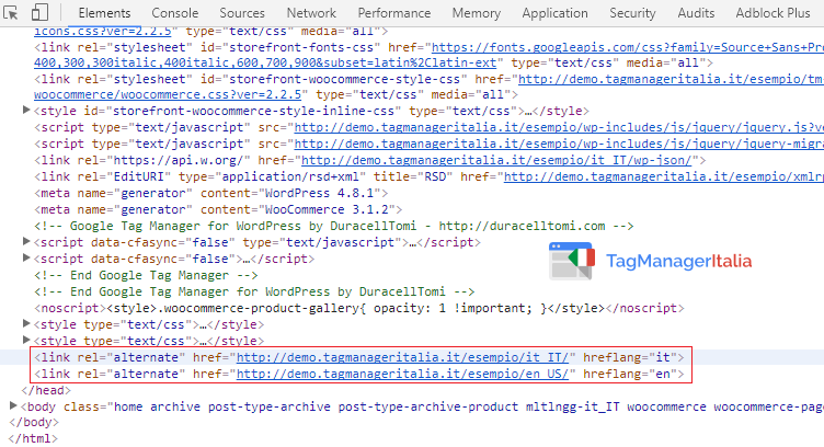 verifica implementare href lang google tag manager