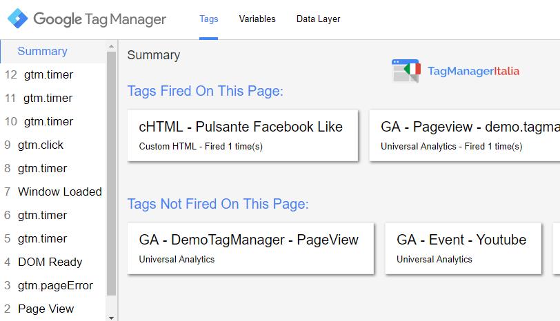 verifica1 tracciare bottone facebook mi piace google tag manager