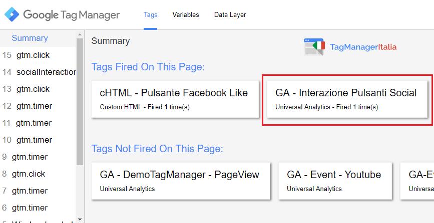 verifica3 tracciare pulsante facebook mi piace google tag manager