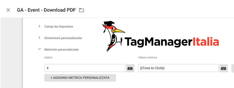 tag evento tempo click google tag manager