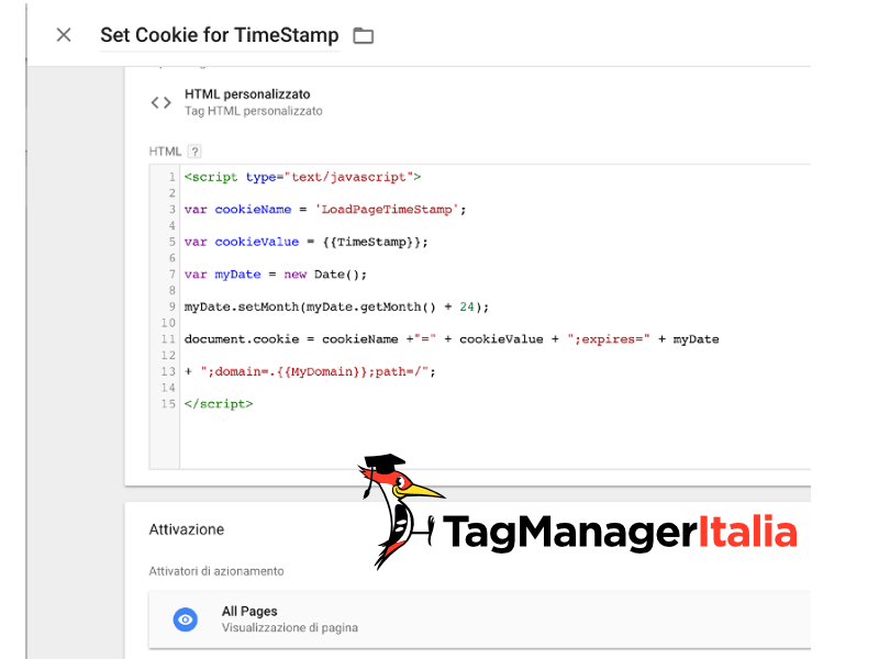 tempo click cookie google tag manager