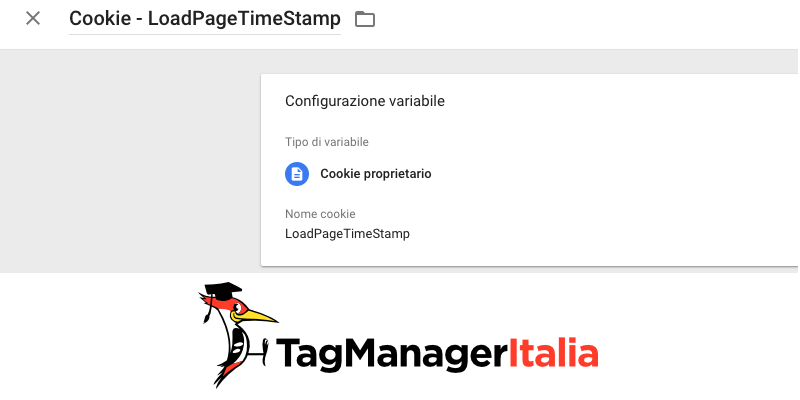 variabile cookie load page time stamp google tag manager