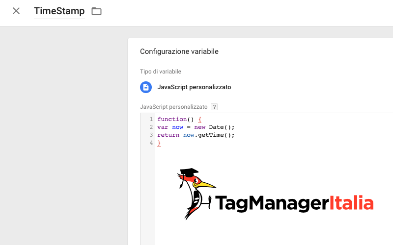 variabile time stamp google tag manager