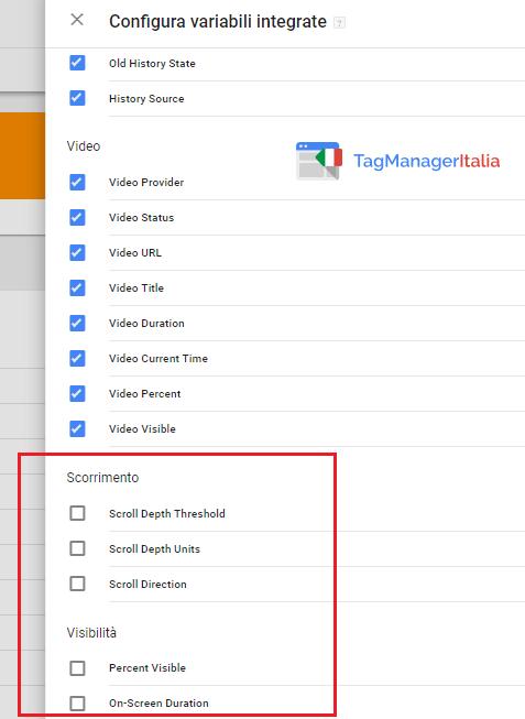 variabili scorrimento visibilità google tag manager