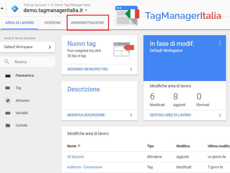 amministrazione script per installare google tag manager