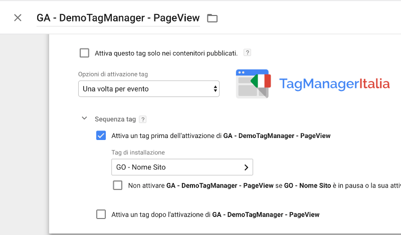 attivare tag google optimize prima google analytics