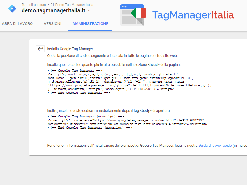 snippet per installare google tag manager