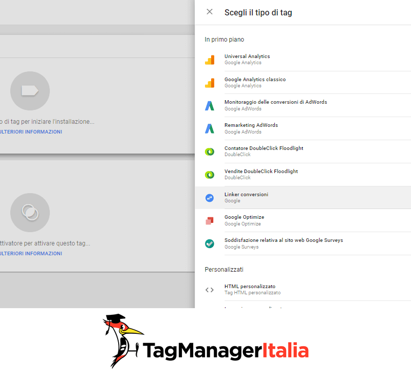tag linker conversioni google tag manager