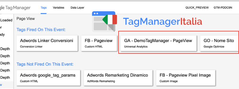 verifica tag google optimize e google analytics google tag manager