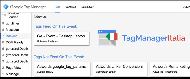 verifica tag desktop google tag manager