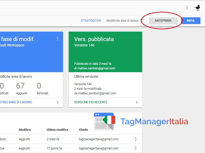 condividere modalità anteprima google tag manager1