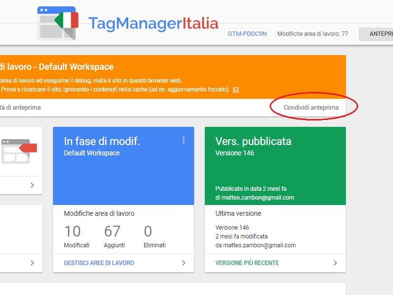 condividere modalità anteprima google tag manager2