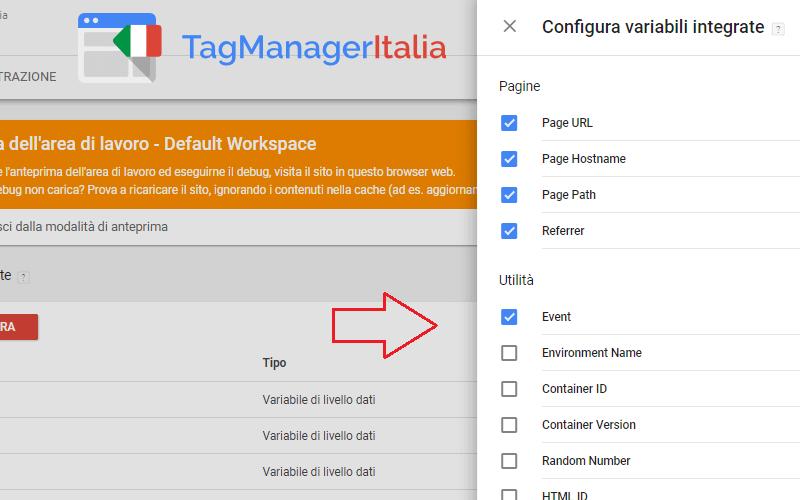 configurare variabili integrate google tag manager