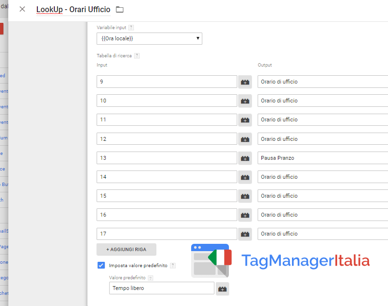 lookup suddividere traffico analytics in fasce ora locale google tag manager