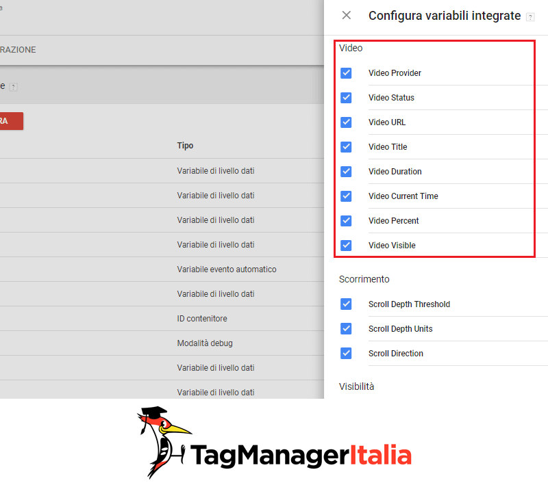 variabili integrate video con google tag manager