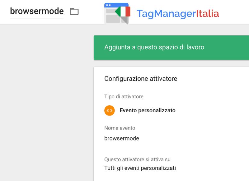 attivatore modalità incognita google tag manager