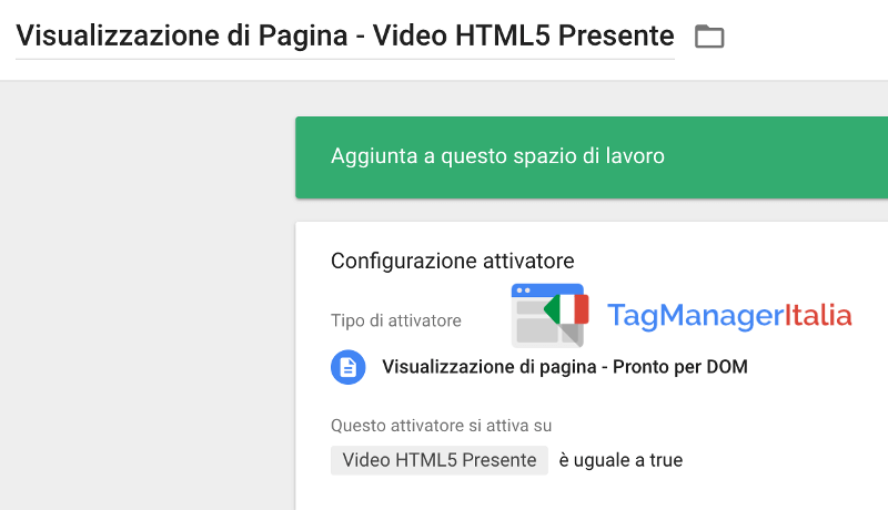 attivatore video html5 google tag manager