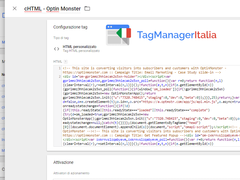 come installare optin monster con google tag manager