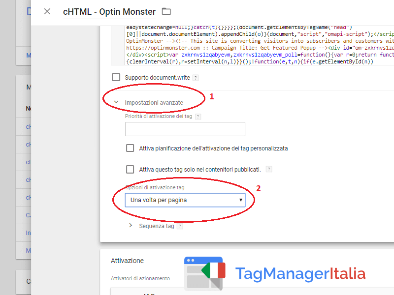 installare optin monster google tag manager
