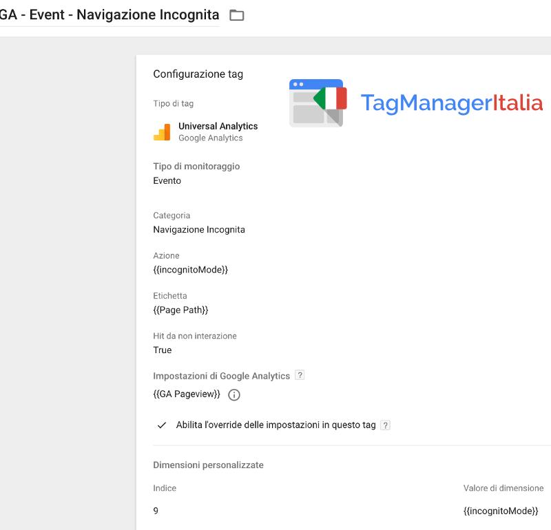 tag google analytics navigazione incognita google tag manager