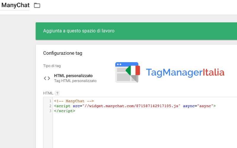 tag html personalizzato manychat google tag manager