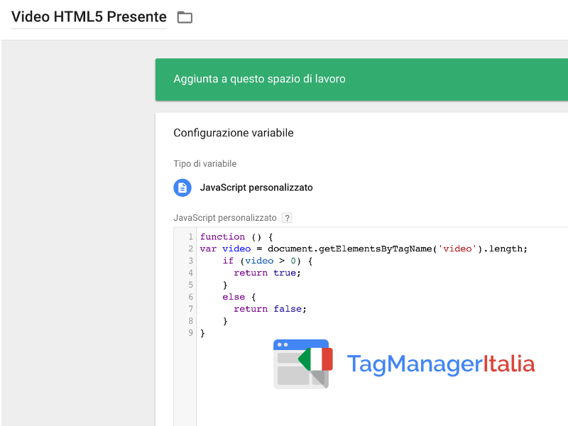 variabile javascript video html5 google tag manager