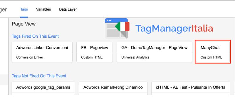 verifica installazione manychat google tag manager