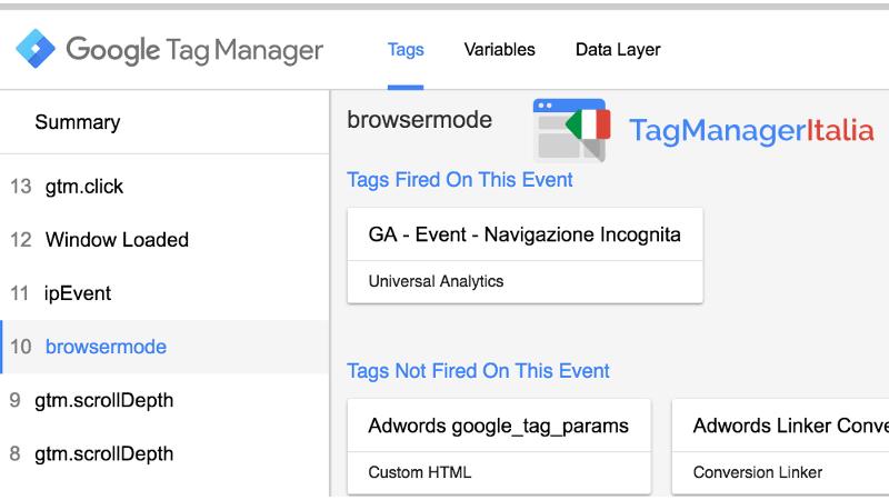 verifica navigazione incognita google tag manager