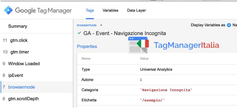 verifica valore tag modalità privata google tag manager