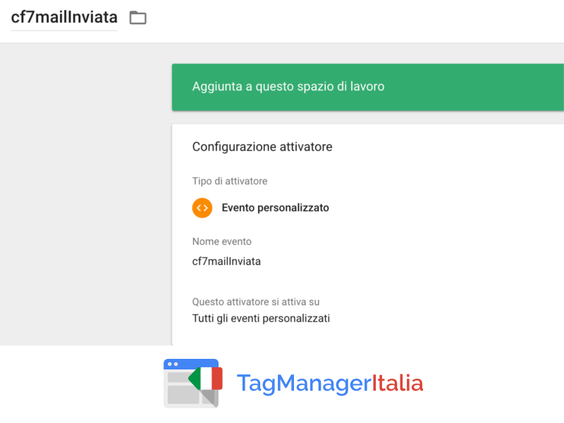 attivatore contact form google tag manager