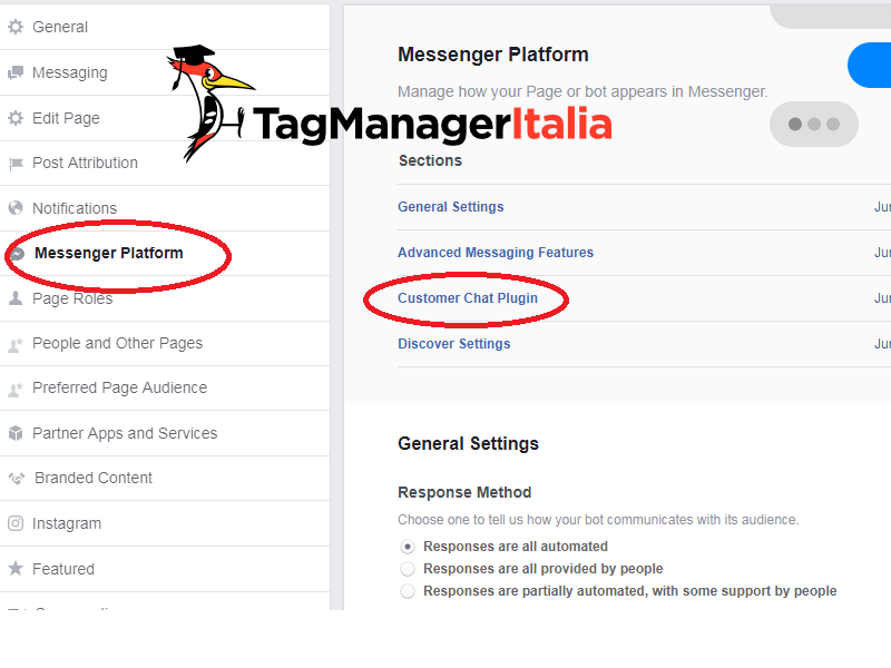 configurazione plugin facebook messenger chat