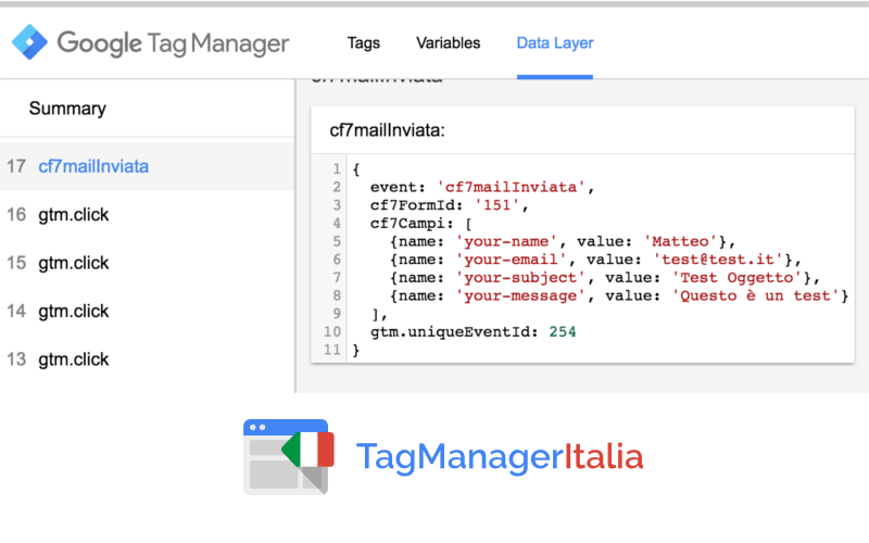 data layer contact form google tag manager