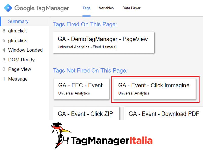 debug google tag manager tracciare click immagine1