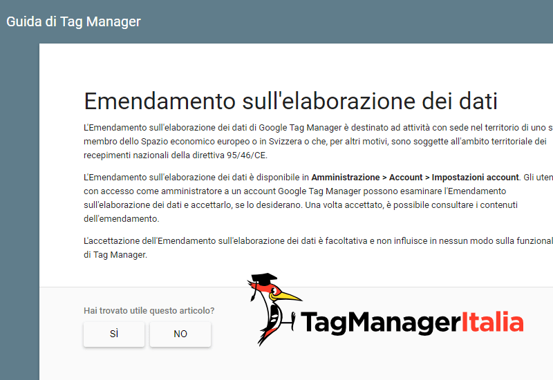 emendamento gdpr google tag manager