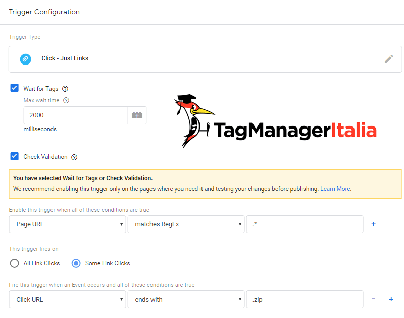 google tag manager download file zip step 1