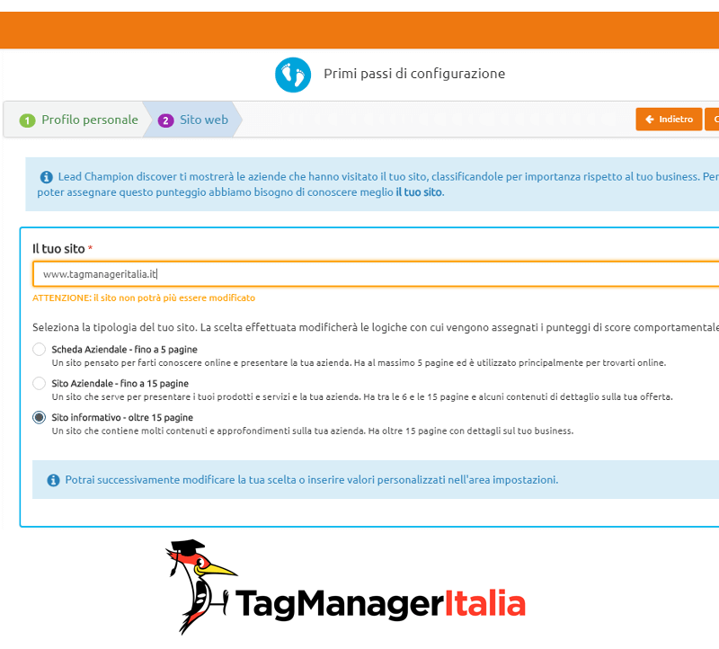 inserisci dominio lead champion con google tag manager