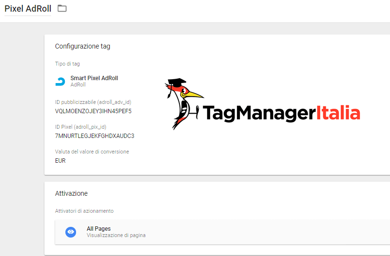 installare adroll google tag manager