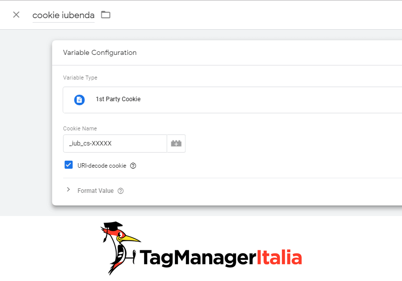 iubenda step 2 variabile di tipo cookie
