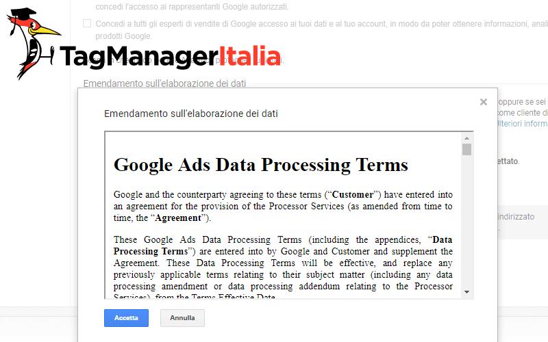 nuovo emendamento dati google analytics gdpr 2