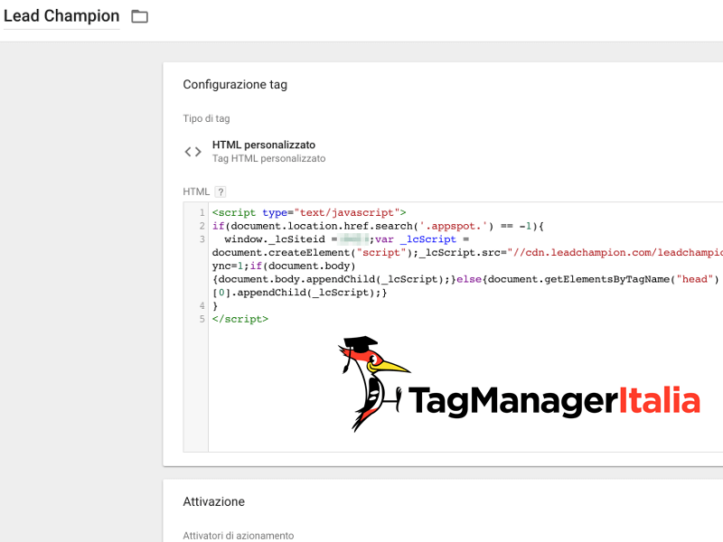 tag installazione lead champion con google tag manager