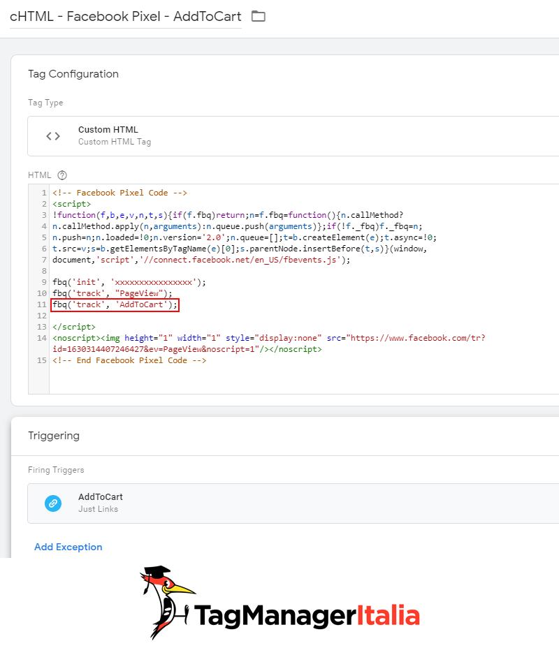 tag tracciare aggiungi carrello pixel facebook google tag manager