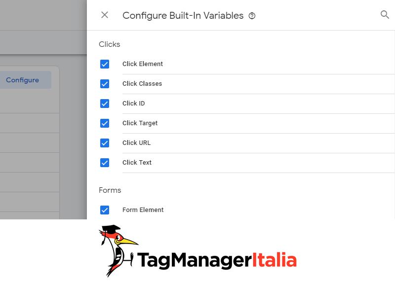 variabili click google tag manager