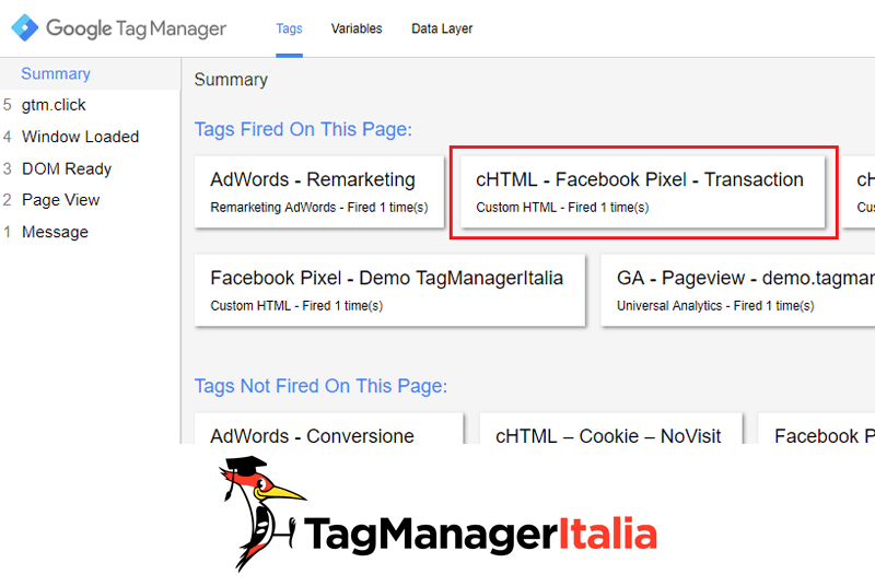 verifica implementare transazione pixel facebook google tag manager-1