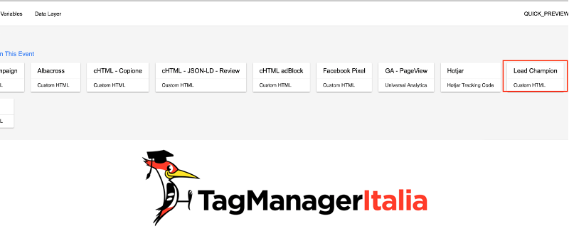 verifica installazione lead champion con google tag manager