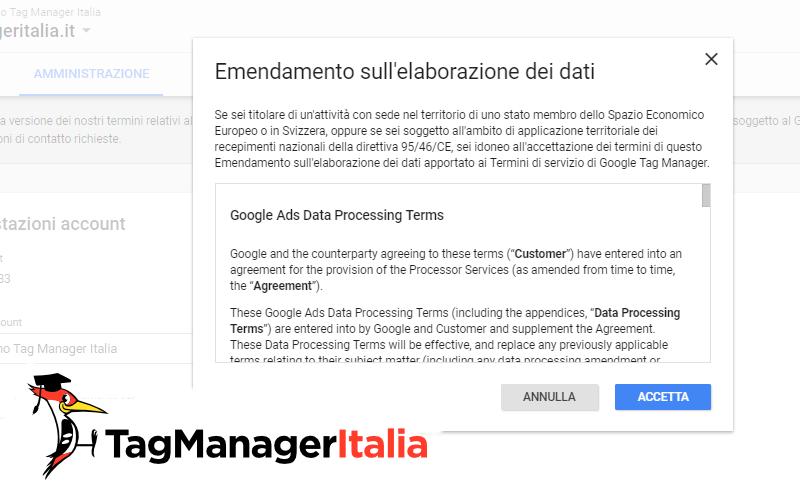 accettare termini servizio google tag manager