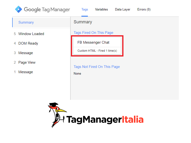 anteprima installare customer chat facebook su sito google tag manager new